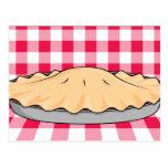 homemade cherry pie on checkered background postcard