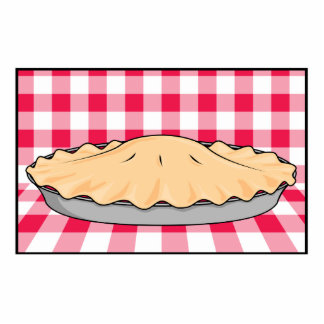 homemade cherry pie on checkered background standing photo sculpture