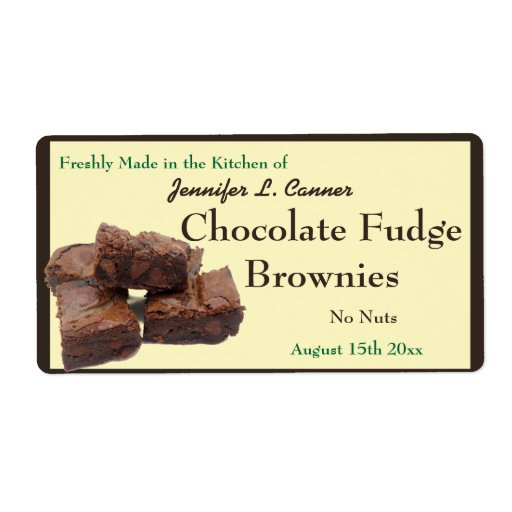 Homemade Chocolate Brownies Packaging Shipping Labels