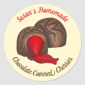 Homemade Chocolate Covered Cherry Cordials Candy Classic Round Sticker