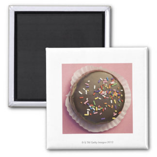 Homemade chocolate dessert with sprinkles 2 inch square magnet