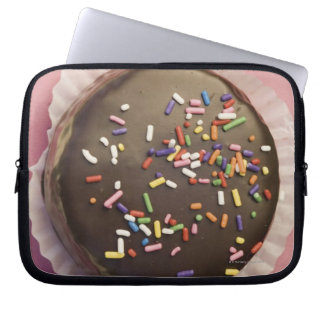 Homemade chocolate dessert with sprinkles laptop computer sleeves