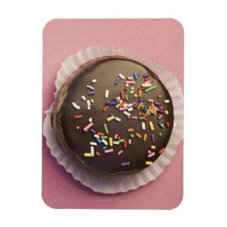 Homemade chocolate dessert with sprinkles rectangular photo magnet