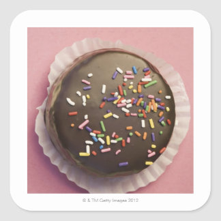 Homemade chocolate dessert with sprinkles square sticker