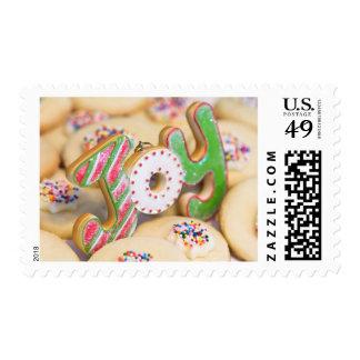 Homemade Christmas shortbread cookies bring Joy Postage Stamp