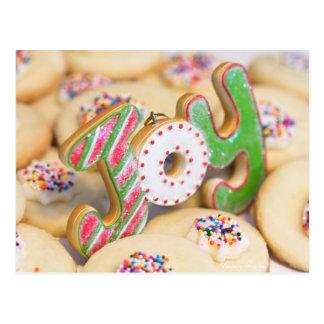 Homemade Christmas shortbread cookies bring Joy Postcard