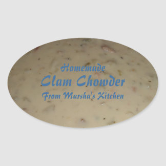 Homemade Clam Chowder Soup Canning Label Oval Sticker