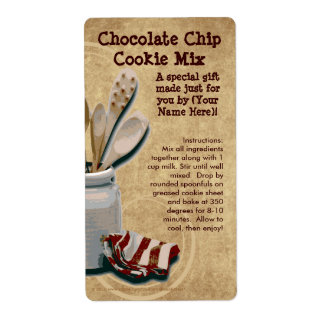 Homemade Cookie Mix Gift Jar Labels, Personalized Label