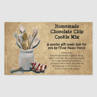 Homemade Cookie Mix Gift Jar Labels, Personalized Rectangular Sticker