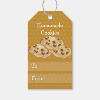Homemade Cookies wth Leaf Yellow Background Gift Tags