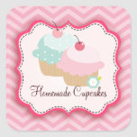 Homemade Cupcakes Personalized Labels Square Sticker