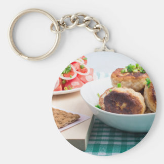 Homemade fried meatballs in a white bowl closeup keychain