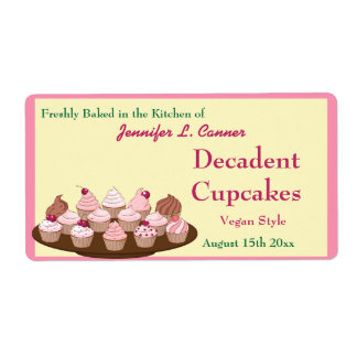 Homemade Frosted Cupcakes Packaging Label