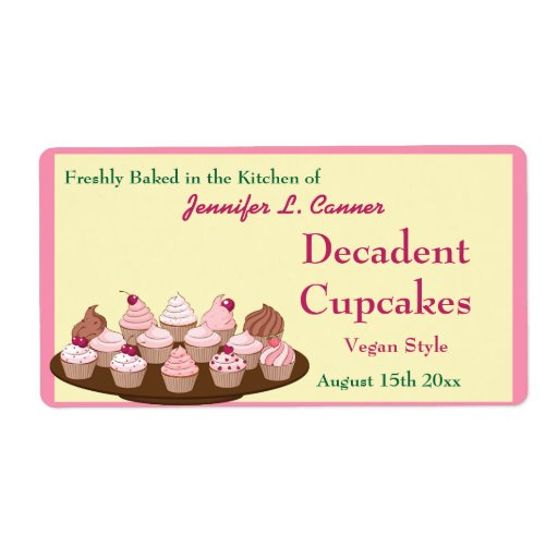 Homemade Frosted Cupcakes Packaging Labels