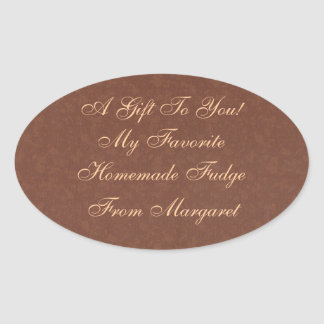 Homemade Fudge or Brownies Food or Gift Label Oval Sticker