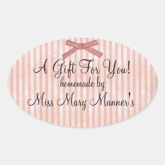 Homemade Gift-Peach Stripe Label Stickers