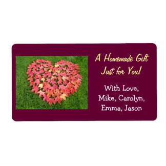 Homemade Gift Tags Heart Leaves Food Treats Label