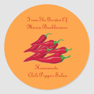 Homemade Homegrown Chili Pepper Salsa Gift Custom Classic Round Sticker