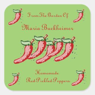 Homemade Homegrown Pickled Hot Pepper Gift Custom Square Sticker