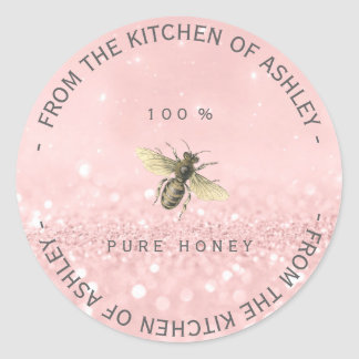 Homemade Honey From Kitchen Pink Rose Gold Classic Round Sticker