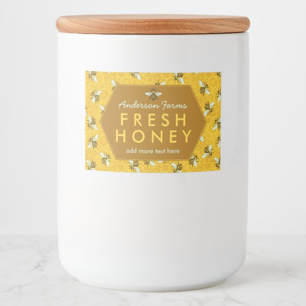 Homemade Honey Jar Labels | Bees Honeycomb Custom | Zazzle