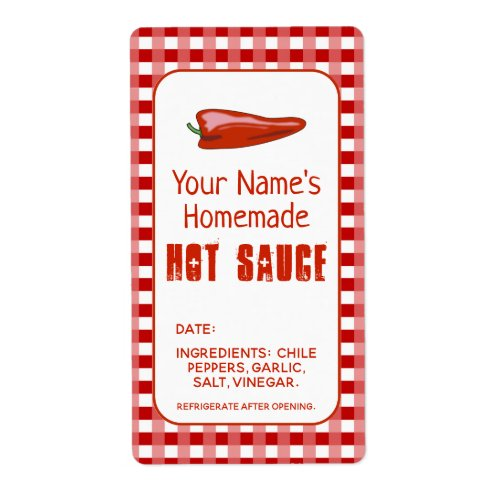 Homemade Hot Sauce Label Chili Pepper Personalized