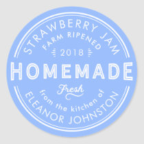 Homemade Jam / Jelly Label Fresh Blue and White