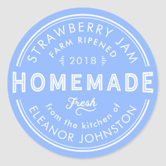 Homemade Jam / Jelly Label Fresh Blue and White