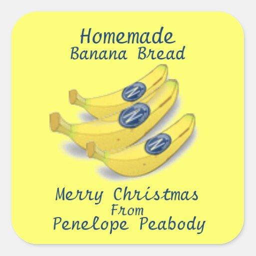 Homemade Label for Banana Bread Customize Square Sticker