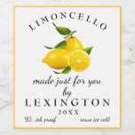 "Homemade Limoncello Tall Bottle Label |<br><div class=""desc"">Give the gift of homemade Limoncello. ""Limoncello Made Just For You"" on a white background with a image of lemons. Personalized with your name and year. Customize the font and text. Use this tall 4 inch waterproof and scratch resistant label for mini-bottles. A chic and trendy look, perfect for an...</div>"