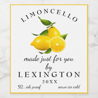 Homemade Limoncello Tall Bottle Label  
