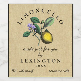 Homemade Limoncello Vintage Lemon Label  