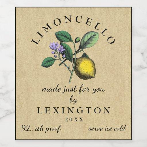 Homemade Limoncello Vintage Lemon Label |