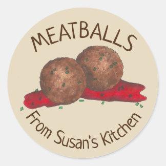 Homemade Meatballs Italian Kitchen Personalized Classic Round Sticker