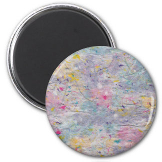 Homemade Paper with Colorful Pulp Accents 2 Inch Round Magnet