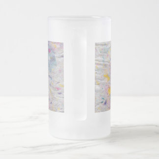 Homemade Paper with Colorful Pulp Accents Frosted Glass Beer Mug