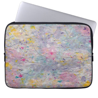 Homemade Paper with Colorful Pulp Accents Laptop Computer Sleeve