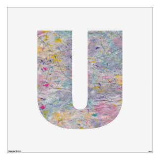 Homemade Paper with Colorful Pulp Accents Letter U Wall Sticker