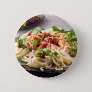 Homemade pasta with stewed chicken and vegetable pinback button
