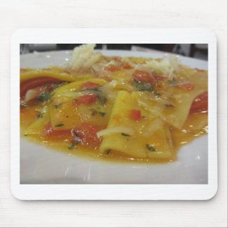 Homemade pasta with tomato sauce, onion, basil mouse pad