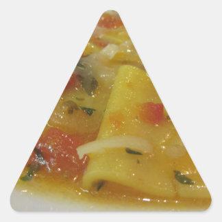 Homemade pasta with tomato sauce, onion, basil triangle sticker