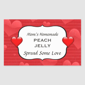 Homemade Peach Jelly Jam Canning Label Red Hearts