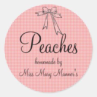 Homemade Peaches Label-Peach Gingham Classic Round Sticker