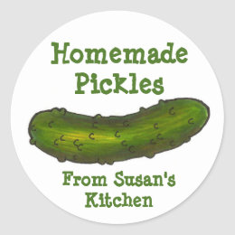 Homemade Pickles Personalized Dill Pickle Stickers