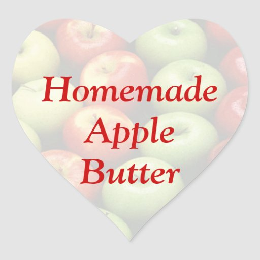 Homemade Red or Green Apple Butter Cannng Label Heart Sticker