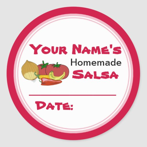 Homemade Salsa Canning Jar Lid Labels Stickers Round