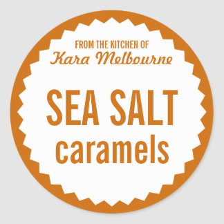 Homemade Sea Salt Caramel Label Template Classic Round Sticker
