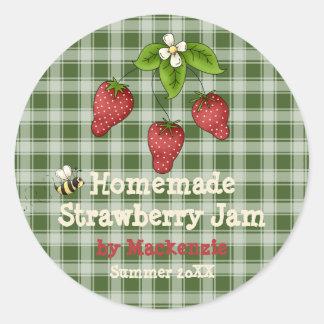 Homemade Strawberry Jam Jar Label (Customize) Classic Round Sticker