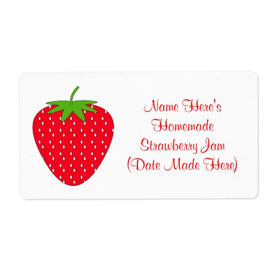Homemade Strawberry Jam Label. White and Red. Label