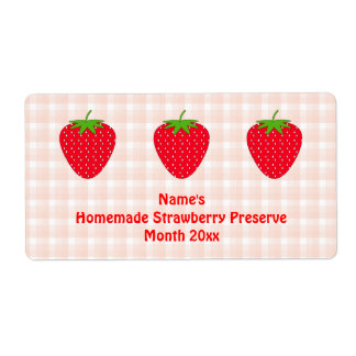 Homemade Strawberry Preserve Label. Pink and Red. Shipping Label